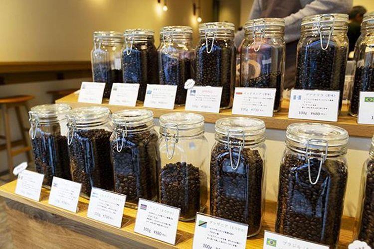 Kartu menunjukan jenis biji kopi dan daerah produksinya