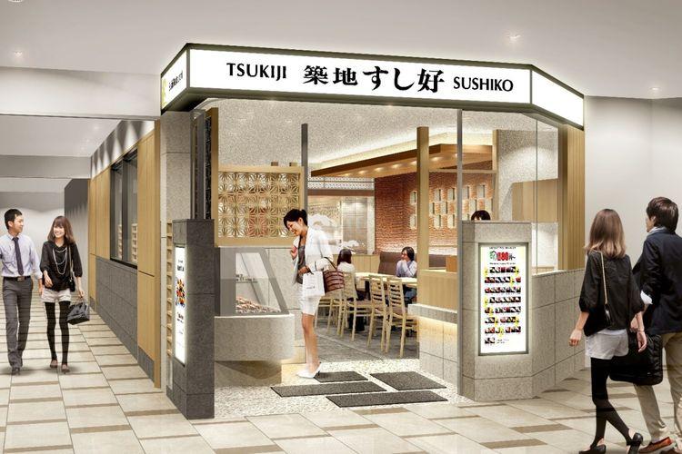 Tsukiji Sushiko membuka cabang terbarunya di lantai keempat Gedung Utama, Bandara Narita Terminal 2