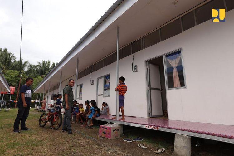 Huntara yang dibangun Kementerian Pekerjaan Umum dan Perumahan Rakyat (PUPR) di Sulawesi Tengah.
