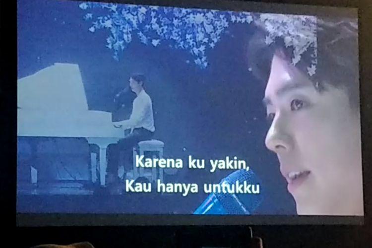 Park Bo Gum tampil dalam fan meeting-nya yang bertajuk Good Day in Jakarta di The Kasablanka Hall, Kota Kasablanka, Jakarta Selatan, Sabtu (23/3/2019) malam.