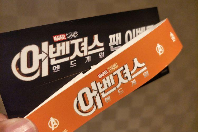 Tiket dan gelang fan event film Avengers: Endgame yang digelar di Jang Chung Arena, Seoul, Korea Selatan, Senin (15/4/2019) malam waktu setempat.