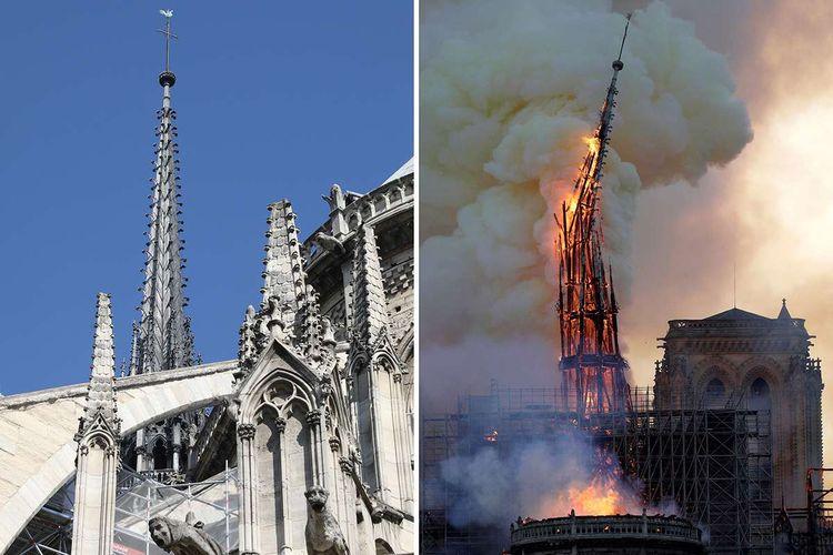 Kombinasi foto menunjukkan menara Gereja Notre Dame di Paris, Perancis, yang diambil pada 26 Juni 2018 (kiri) dan kondisi menara gereja tersebut yang tengah dilalap api pada 15 April 2019. Belum diketahui penyebab pasti kebakaran itu, api dengan cepat melalap atap dan puncak menara gereja bernuansa Gotik yang dibangun pada abad ke-12 itu.