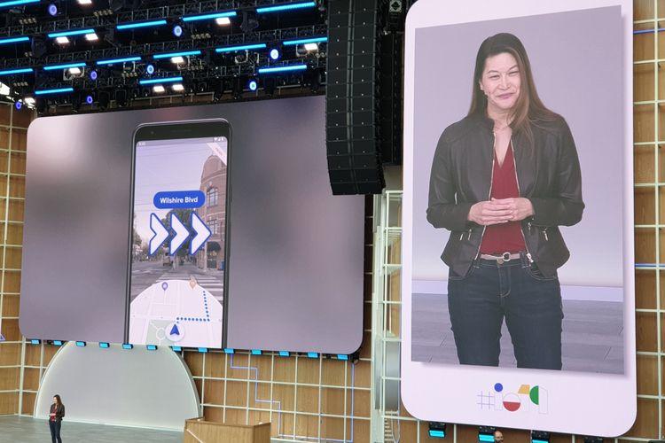 Sabrina Ellis, perwakilan google saat mengumumkan fitur navigasi 3D di Google Maps di ajang Google IO di kantor pusat Google, Selasa (7/5/2019).
