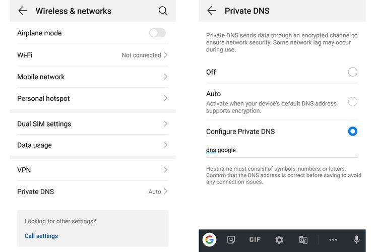 Menu Private DNS di dalam Settings perangkat dengan OS Android 9.0 Pie