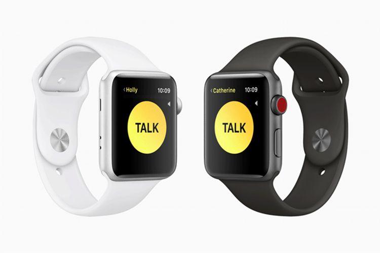Ilustrasi fitur Walkie-Talkie di Apple Watch.
