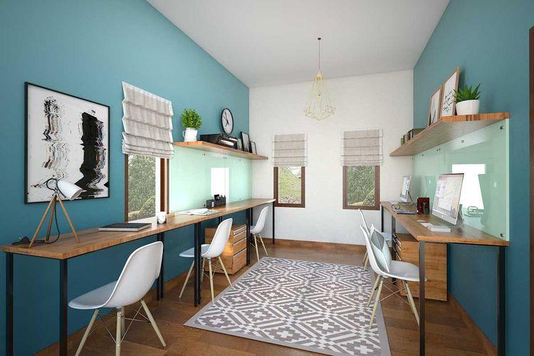 Aksen warna biru untuk ruang kerja di Simple Interior House 2 karya Vivame Design