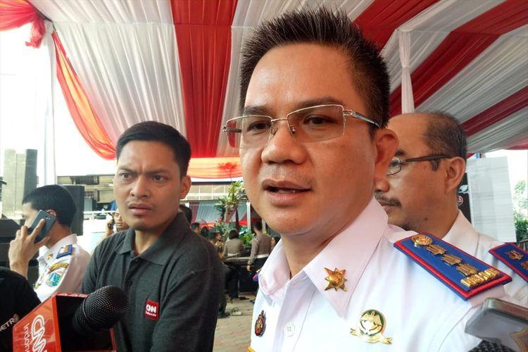 Kepala Dinas Perhubungan DKI Jakarta Syafrin Liputodi Gedung Ditlantas Polda Metro Jaya, Jakarta Selatan, Jumat (2/8/2019).