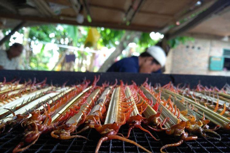 Ratusan tusuk sate lipan siap dikeringkan oleh seorang pekerja di Dusun Belimbing Desa Melati II Kecamatan Perbaungan Serdang Bedagai Sumatera Utara, Senin (13/8/2019). Permintaan lipan kering awalnya dimulai dari Surabaya dan kini menembus pasar Vietnam.