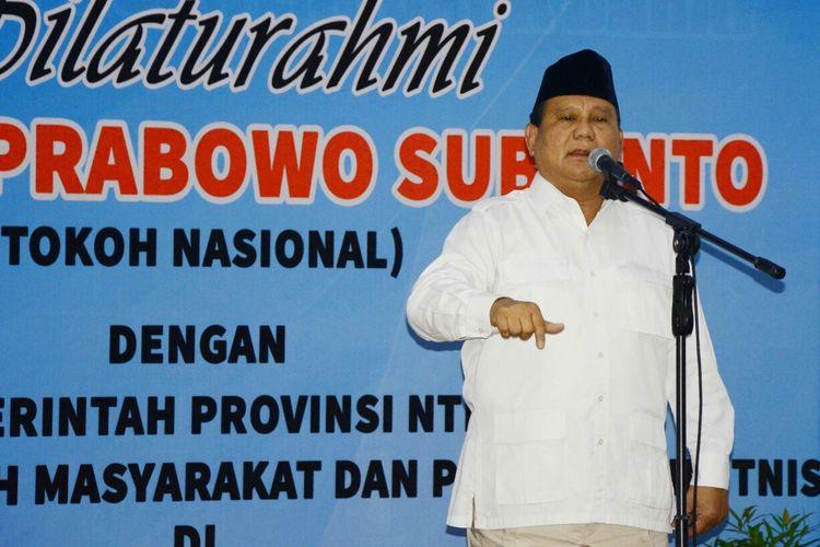 Prabowo Subianto saat silaturahmi di NTB, Selasa (7/3/2017).