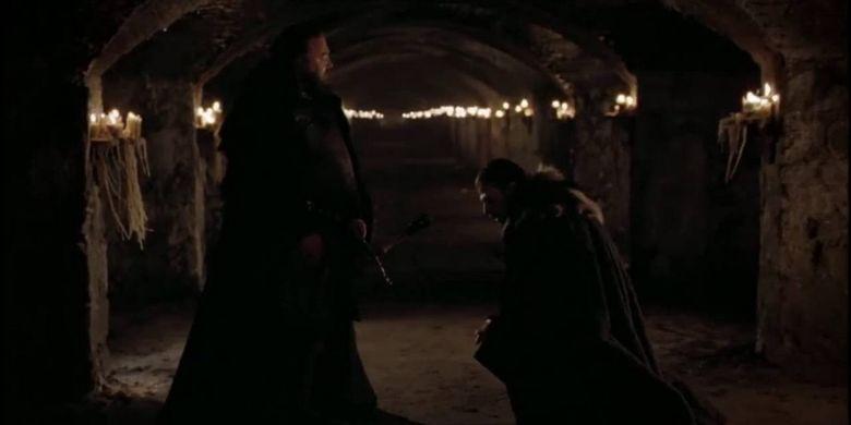 Robert Baratheon (kiri) dan Ned Stark, karakter dalam serial Game of Thrones