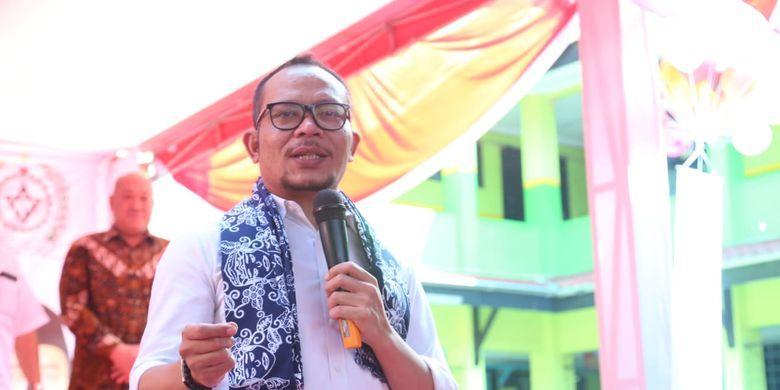 Menteri Ketenagakerjaan (Menaker) M Hanif berbicara di depan siswa SMK Karya Guna 1 Bekasi, Jawa Barat, Kamis (21/3/2019).