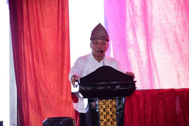 Menteri Pekerjaan Umum dan Perumahan Rakyat (PUPR) Basuki hadimuljono memberikan sambutan pencanangan pembangunan Tol Simpang Indralaya-Muara Enim-Lubuk Linggau, Selasa (9/4/2019).
