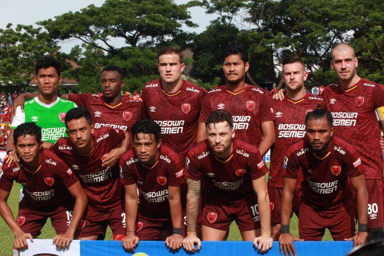 Skuat PSM Makassar jelang pertandingan Liga 1 beberapa waktu lalu.