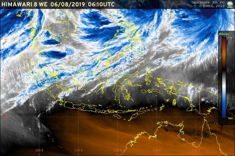 Pengamatan BMKG menunjukkan bahwa dry intrusion telah memasuki selatan Indonesia dari Australia.