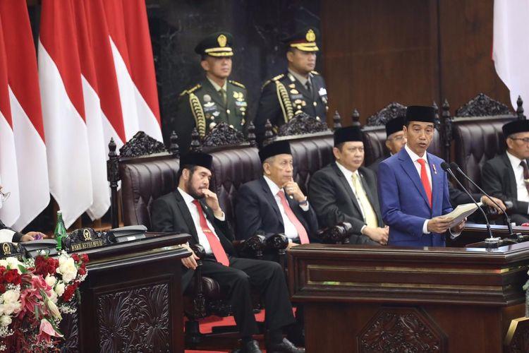 Presiden Joko Widodo saat menyampaikan pidato dalam Sidang Tahunan MPR 2019, Jumat (16/8/2019).