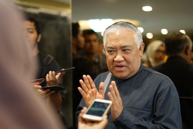 Mantan Ketua Umum Pimpinan Pusat Muhammadiyah, Din Syamsuddin seusai bertemu Ketua DPR Bambang Soesatyo, Selasa (14/5/2019).