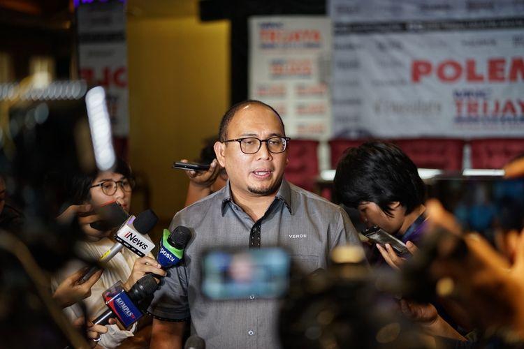Juru bicara Badan Pemenangan Nasional pasangan Prabowo Subianto-Sandiaga Uno (BPN) Andre Rosiade saat ditemui di kawasan Menteng, Jakarta Pusat, Sabtu (18/5/2019).