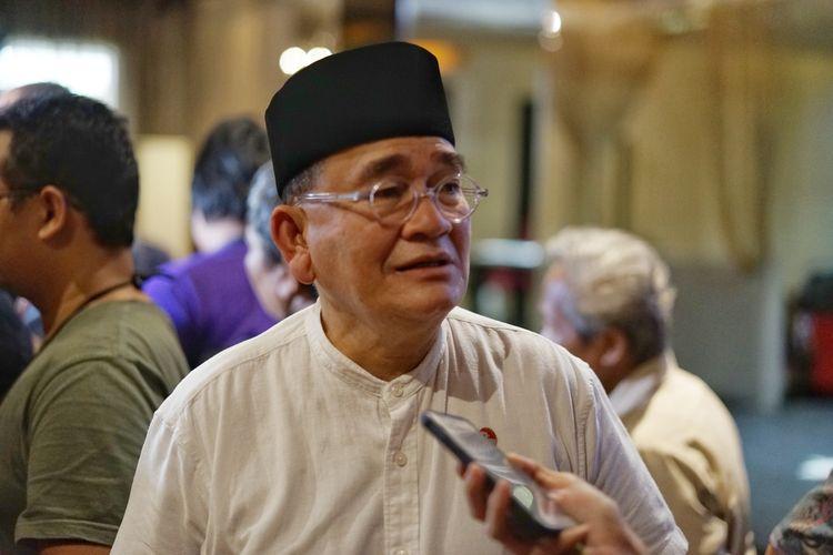 Anggota Tim Kampanye Nasional pasangan Joko Widodo-Maruf Amin (TKN) Ruhut Sitompul saat ditemui di kawasan Menteng, Jakarta Pusat, Sabtu (18/5/2019).