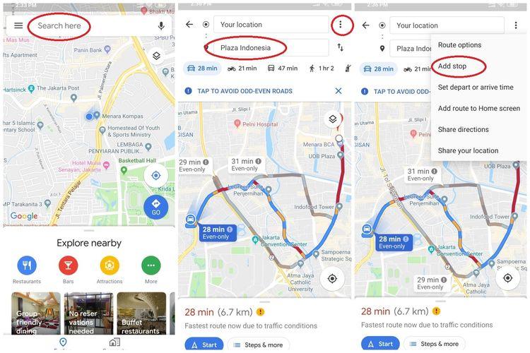 Ilustrasi Langkah Pertama Navigasi dengan fitur add Stop di Google Maps