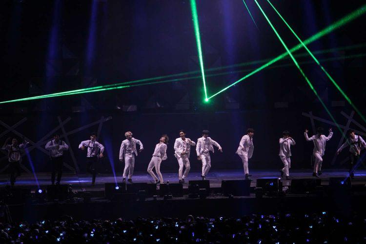 Boyband asal Korea Selatan, Super Junior, menggelar konser Super Show 8 di Indonesia Convention Exhibition (ICE), BSD, Tangerang, Banten, Sabtu (11/1/2020).