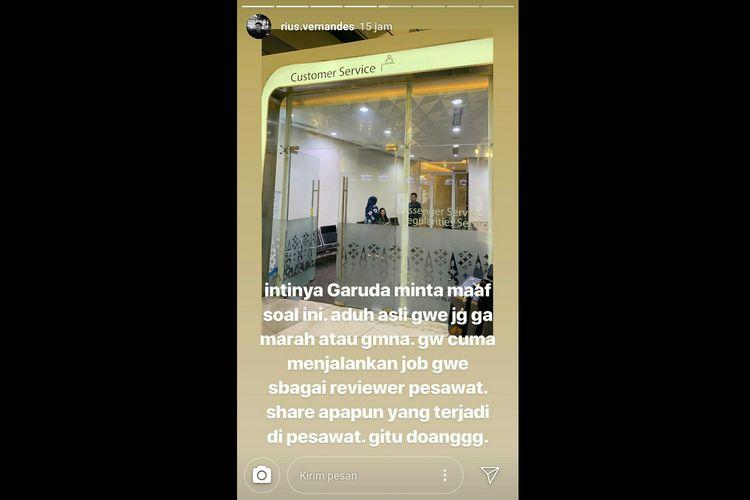 Unggahan akun instagram @rius.vernandes mengenai kartu menu kelas bisnis maskapai Garuda Indonesia yang disebut hanya ditulis tangan. Screenshot diambil pada Minggu (14/7/2019).(Screenshot Instagram @rius.vernandes)