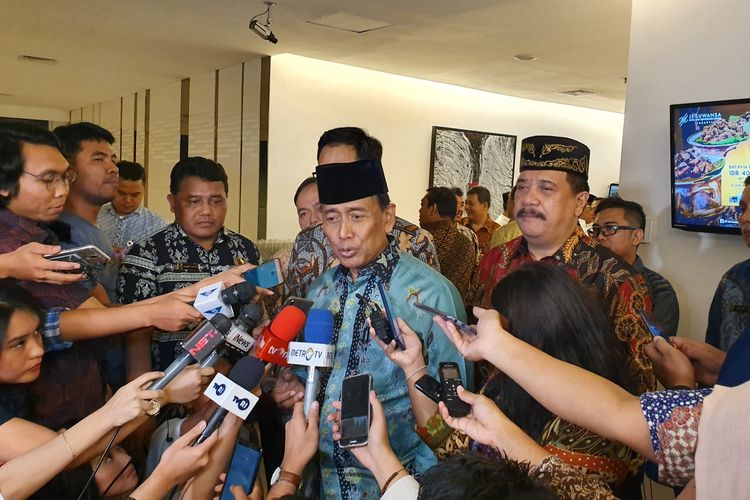 Menko Polhukam Wiranto saat acara buka puasa bersama pimpinan redaksi media massa, di  Jakarta, Jumat (17/5/2019).