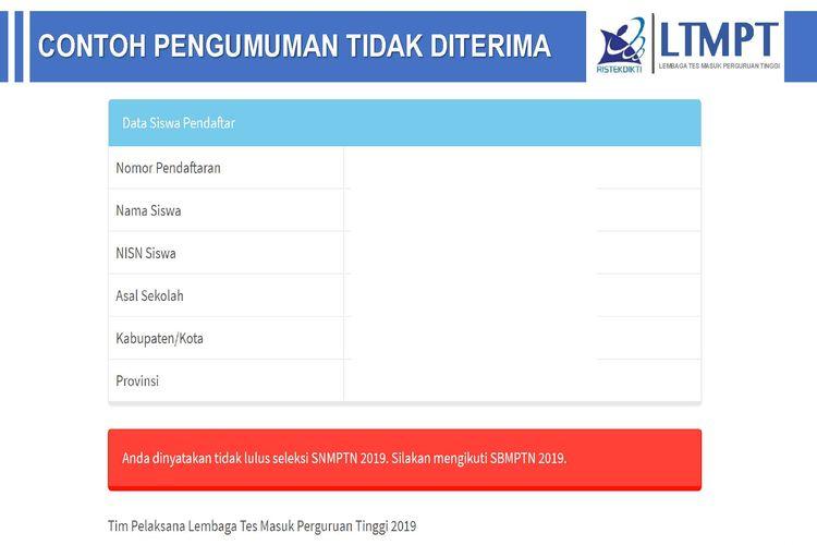 Contoh laman resmi pengumuman SNMPTN 2019 Tidak Diterima