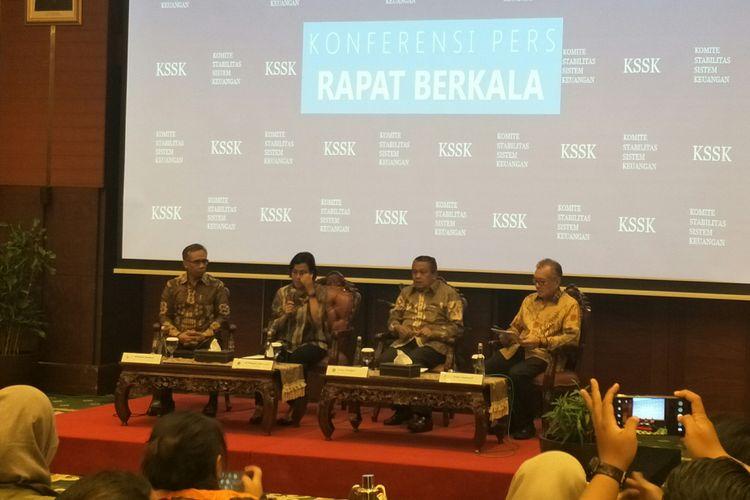 Konferensi Pers KSSK di Kantor Kementerian Keuangan, Jakarta, Senin (23/42019)