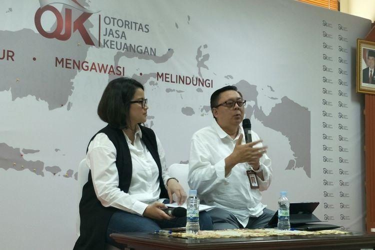 Kepala Group Inovasi Keuangan Digital OJK Triyono di Kantor OJK. Jakarta. Jumat (19/7/2019)