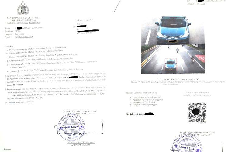 Contoh surat tilang yang dikirim ke pemilik kendaraan yang terpantau langgar lalu lintas lewat kamera ETLE.
