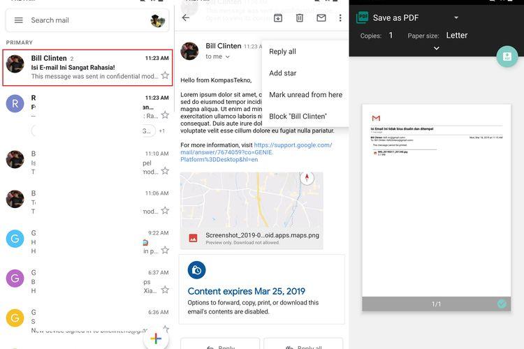 Ilustrasi hasil e-mail yang dipindahkan menggunakan mode Gmail Rahasia