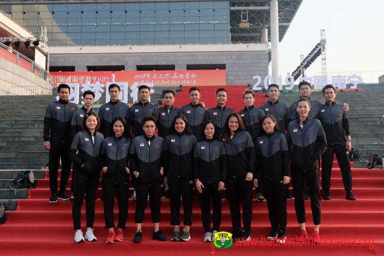 Tim Nasional Bulu Tangkis Indonesia saat Gala Dinner Piala Sudirman 2019 di Nanning, China.