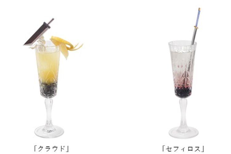 Minuman yang terinspirasi dari karakter protagonis dan antagonis utama FF VII: Cloud Strife (Kiri) dan Sephiroth (Kanan).
