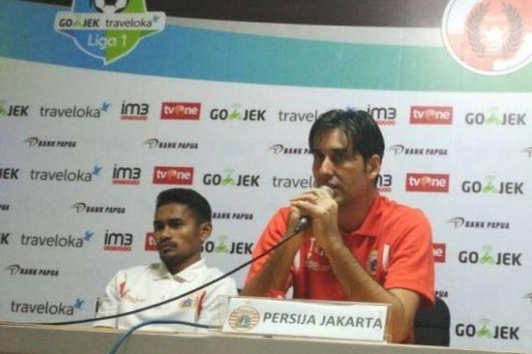 Pelatih Persija Jakarta, Stefano Cugurra alias Teco, dalam jumpa pers pascalaga Liga 1 melawan Perseru Serui di Stadion Patriot, Bekasi, 13 Juni 2017.