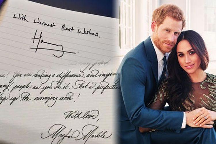 Tulisan tangan Pangeran Harry dan Meghan