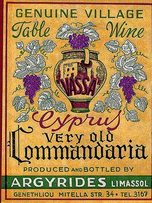 Label Wine Commandaria