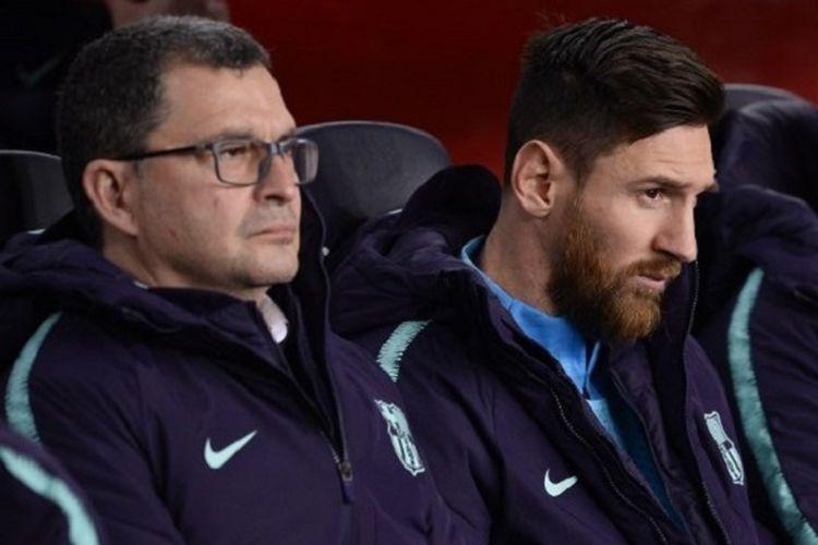Lionel Messi mengawali laga Barcelona vs Real Madrid di Stadion Camp Nou dalam semifinal Copa del Rey dari bangku cadangan, 6 Februari 2019.