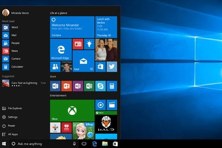 Tampilan Start Menu di Windows 10