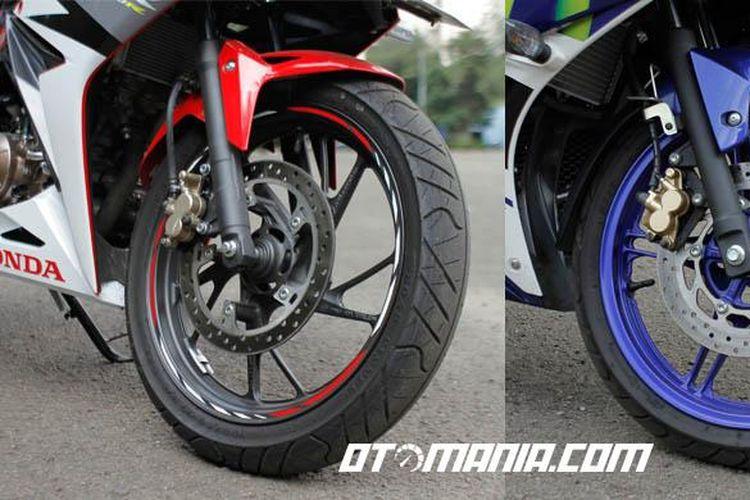 Kaki depan Yamaha R15 dan CBR 150. Rem cakram jadi perangkat standar pengerema kedua motor ini