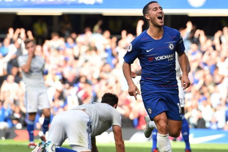 Eden Hazard merayakan gol pada laga Chelsea vs Cardiff City dalam lanjutan pekan ke-5 Premier League di Stadion Stamford Bridge, 15 September 2018.