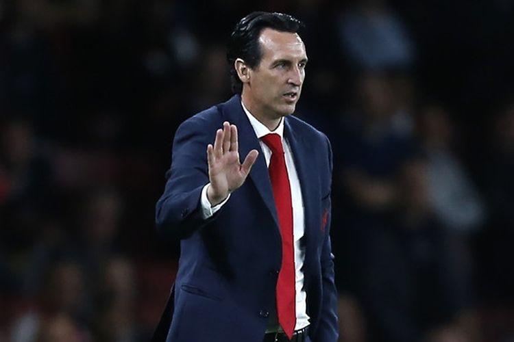 Ekspresi pelatih Arsenal, Unai Emery, dalam laga Grup E Liga Europa kontra Vorskla di Stadion Emirates, London, Inggris pada 20 September 2018.