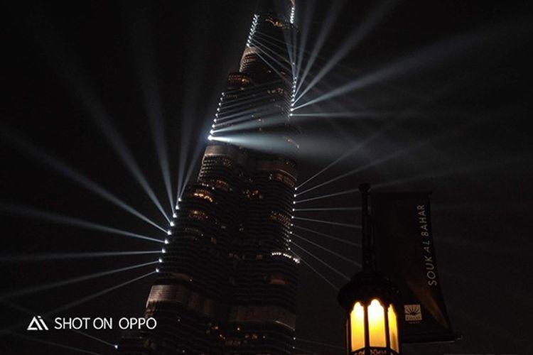 Keindahan Burj Khalifa di malam hari diambil dengan fitur Night Mode OPPO R17 Pro
