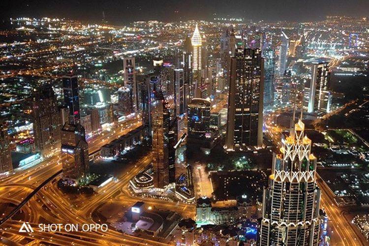 Keindahan Kota Dubai di malam hari, di foto dari Burj Khalifa dengan fitur Night Mode OPPO R17 Pro