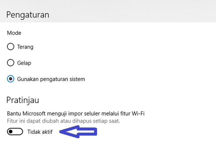 Mengaktifkan mode transfer foto melalui Wi-Fi mobile pada menu Pengaturan