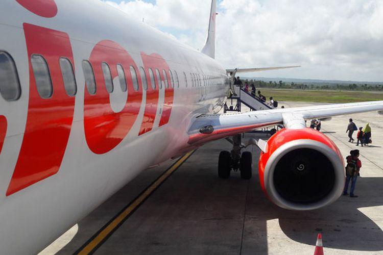 Pesawat Lion Air di Bandara Internasional Lombok, Nusa Tenggara Barat, Rabu (12/7/2017).