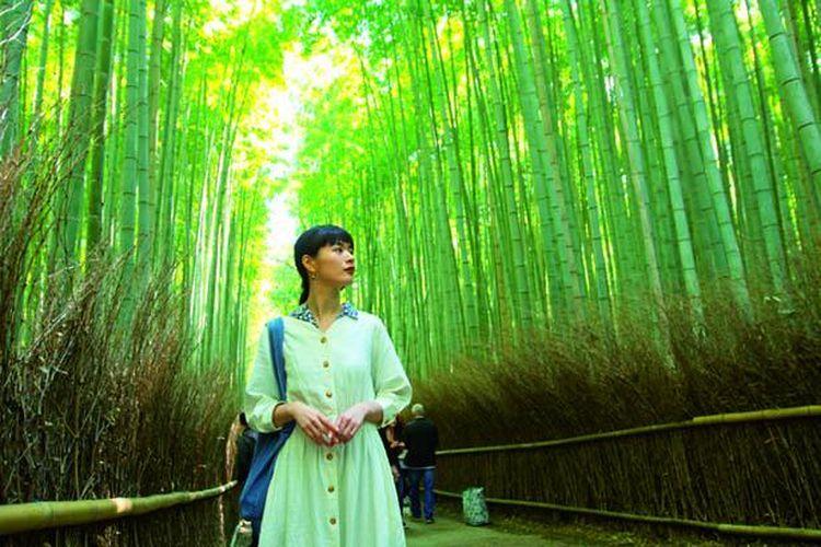 Berjalanlah melintasi hutan bambu yang mengarah ke Taman Okochi Sanso.
