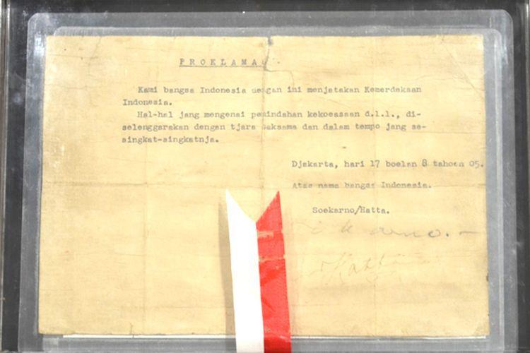 teks proklamasi kemerdekaan Indonesia ketikan Sayuti Melik, teks proklamasi, naskah proklamasi