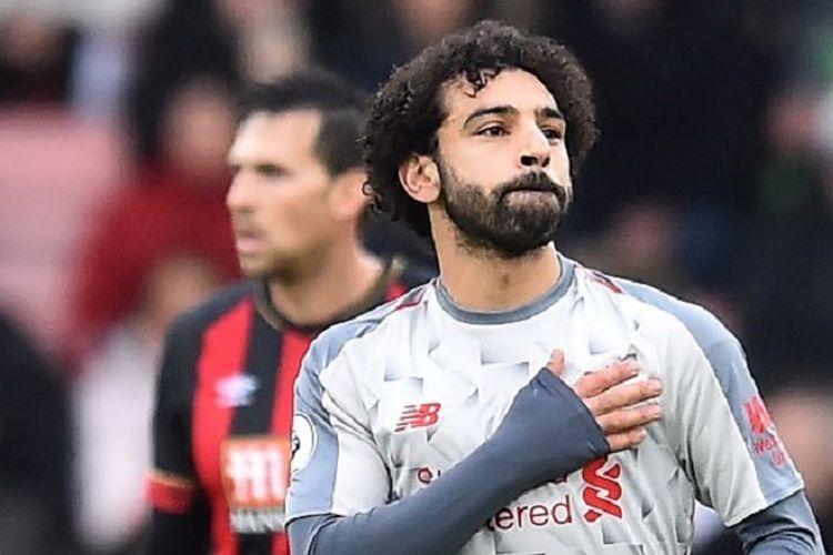 Mohamed Salah merayakan golnya pada pertandingan Bournemouth vs Liverpool di Stadion Vitality dalam lanjutan Liga Inggris, 8 Desember 2018.