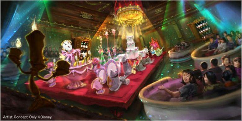 Berdansa dengan perabotan dan perlengkapan makan di Kastil Beast.