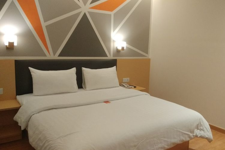 Salah satu kamar hotel di hotel 7 Days Premium Jatinegara, Jakarta.
